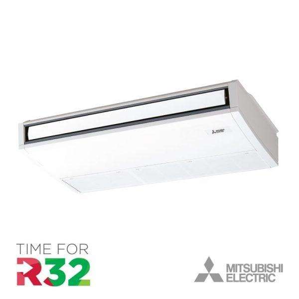 Mitsubishi plafond-unit Airconditioning en R32 koelmiddel logo