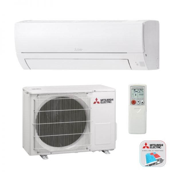 Mitsubishi Electric Airconditioning wand-unit met cooling en heating logo