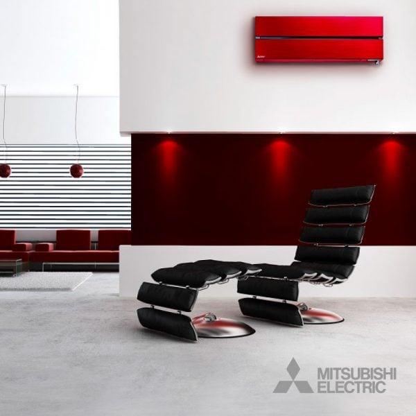 Woning met luxe rode Mitsubishi airconditioning